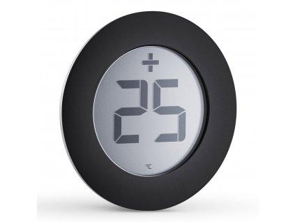 Digitální venkovníteploměr Ø 8 cm černý