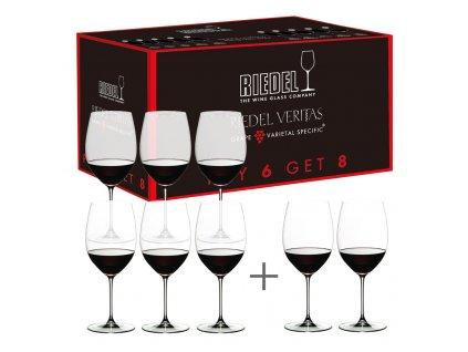 Výhodné balení 6 + 2 ks zdarma sklenic Cabernet/Merlot Veritas