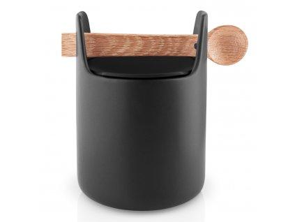 Dóza na potraviny s dřevěnou lžičkou černá