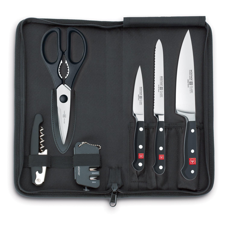 Cestovní sada nožů s brouskem, nůžkami a otvírákem v pouzdře 7dílná Classic WÜSTHOF