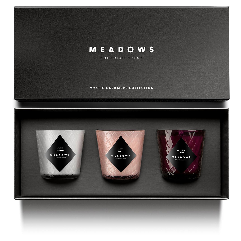 Dárková kolekce 3 vonných svíček mini Mystic Cashmere Meadows