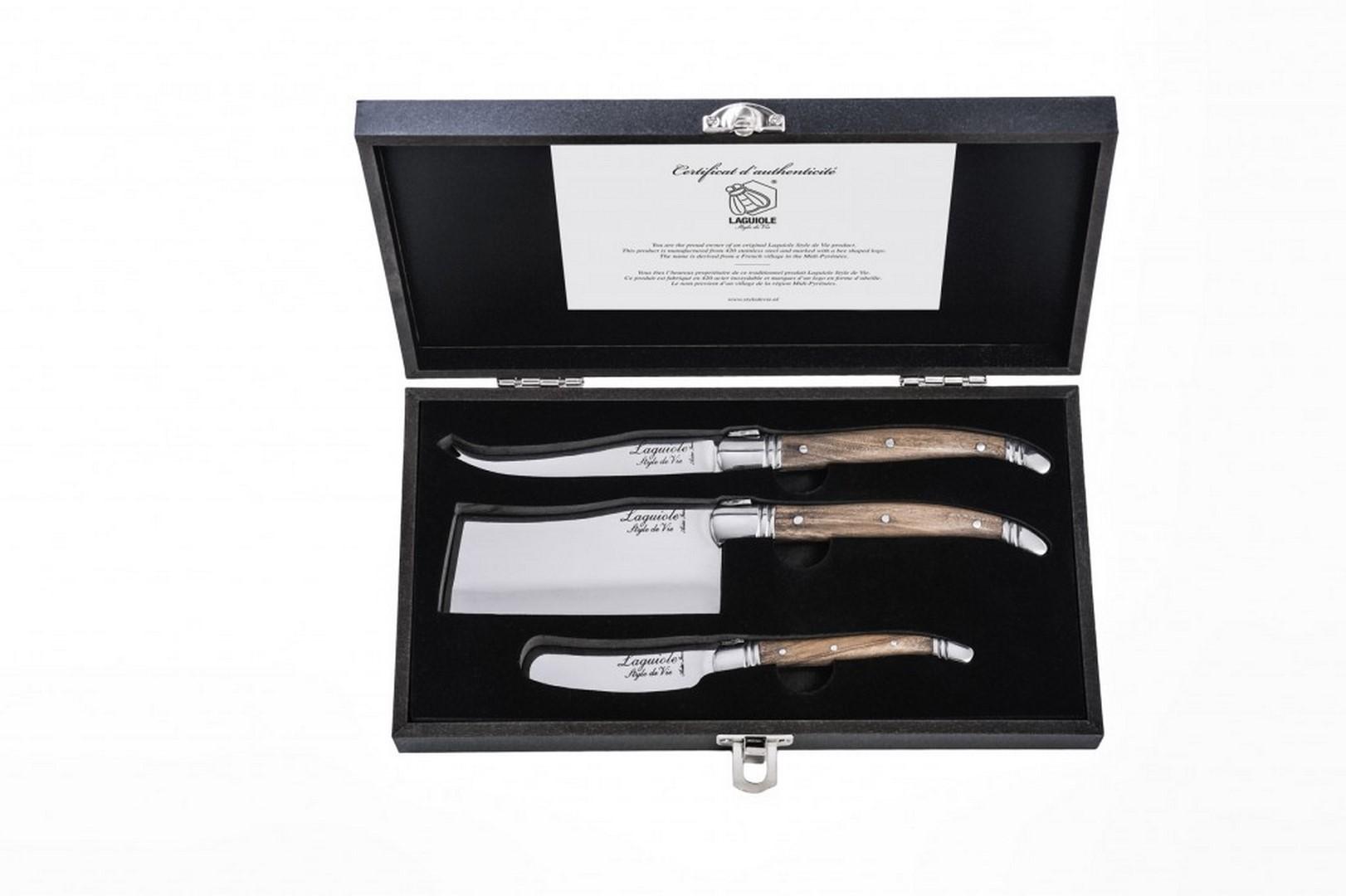 Sada nožů na sýr Laguiole Luxury 3 ks olive