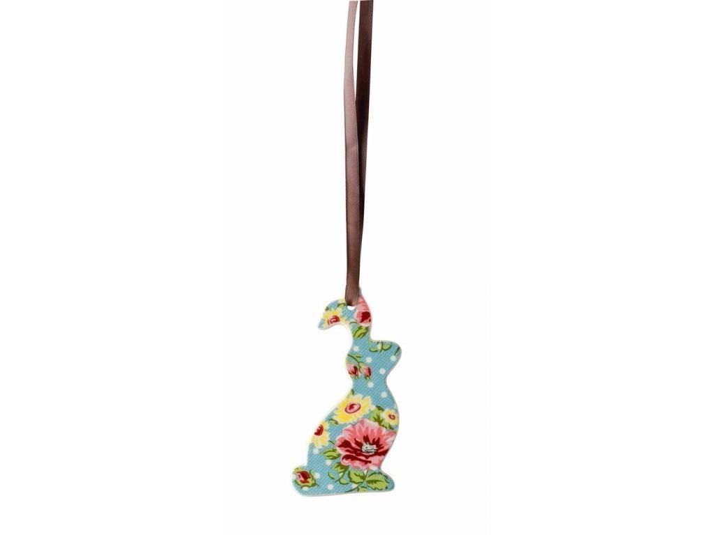Ozdoba Velikonoční zajíček Springtime Flowers Turkis Rosenthal 8,5x4,5 cm