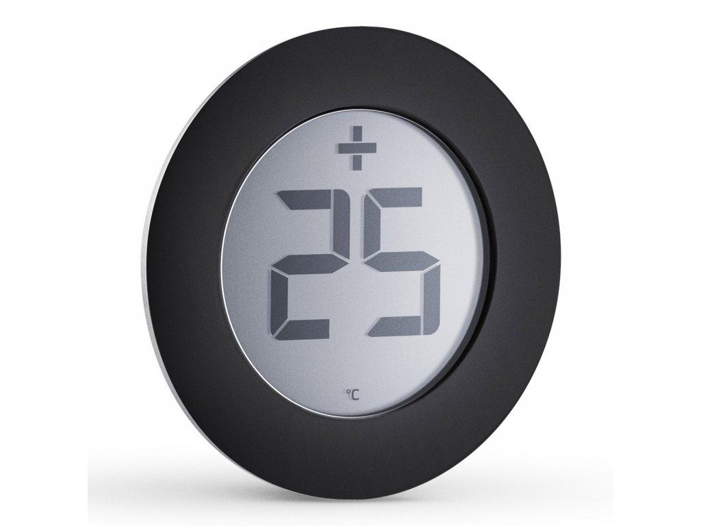 Digitális kültéri hőmérő, fekete, Ø 8 cm