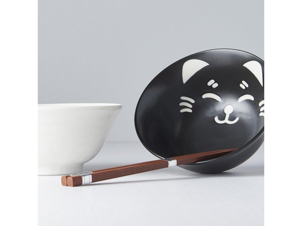 Tálkészlet Cat Face Design pálcikákkal, 500 ml, 2 db