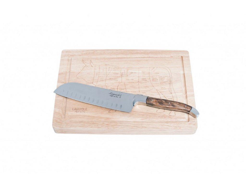 Santoku kés vágódeszkával Laguiole Luxury 17 cm olive