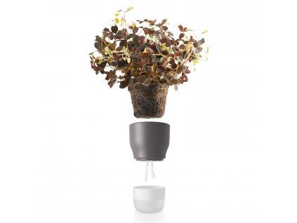 Önöntöző virágcserép, szürke, kerámia, Ø 9 cm