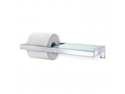 MENOTO toalettpapír-tartó, fényes rozsdamentes acél és üveg