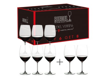 Kedvezményes szett: Cabernet / Merlot kristály borospohár, 6+2 db ajándék, Veritas