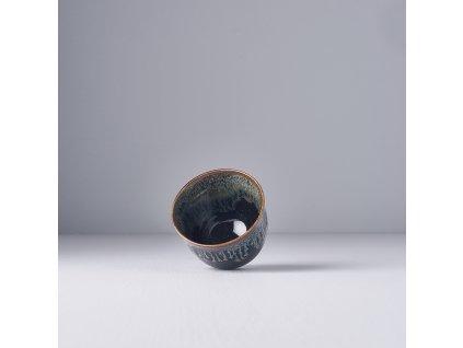 Fekete bögre kék cseppekkel 150 ml