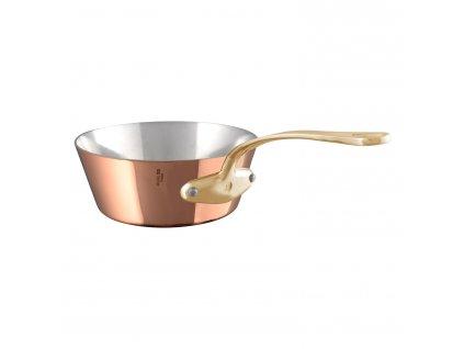 Magasfalú rézserpenyő, bronz nyéllel, Ø 24 cm, kónikus, (1,5 mm réz)