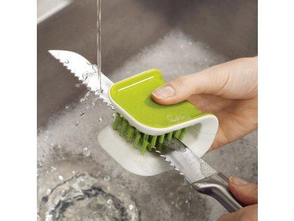 BladeBrush™ kés- és evőeszköz-tisztító kefe, zöld