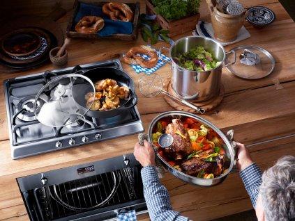 Akciós ovális sütőtál multifunkciós fedővel és hőmérővel, rozsdamentes acél