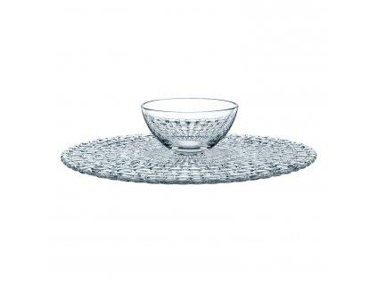 Bossa Nova 2 az 1-ben kristály tortaállvány/tortaalátét, tálkával, kerek