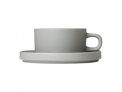Készlet 2 teás bögre alátéttel Mio világosszürke 0,17 l