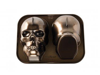 """3D-s """"koponya"""" sütőforma Haunted Skull Bundt® bronz"""