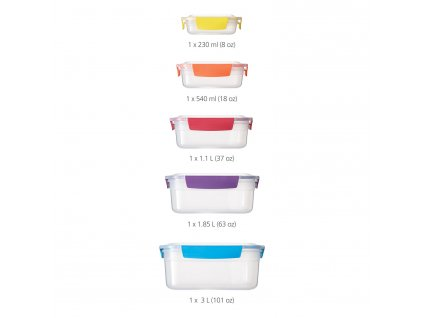 Nest™ Lock 5 kompakt tárolóedény készlet, Multi-colour