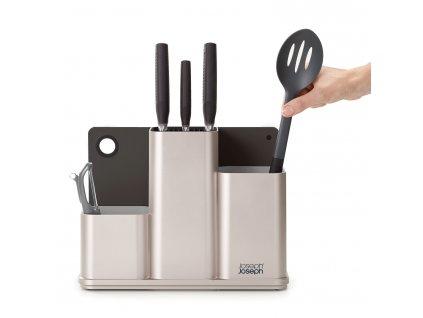 CounterStore™ ezüst  konyhai eszköztartó doboz, késblokk, vágódeszka