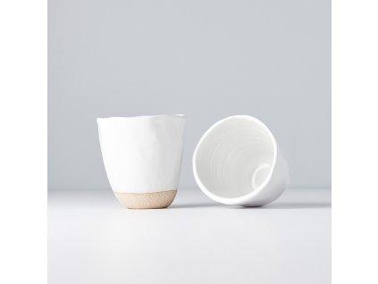 Szabálytalan szélű fül nélküli bögre Tea Cup fehér 300 ml
