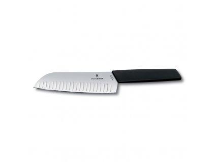 Santoku kés bordázott Victorinox Swiss Modern 17 cm fekete
