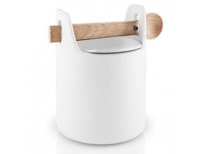 Élelmiszer tároló doboz fa kanállal fehér