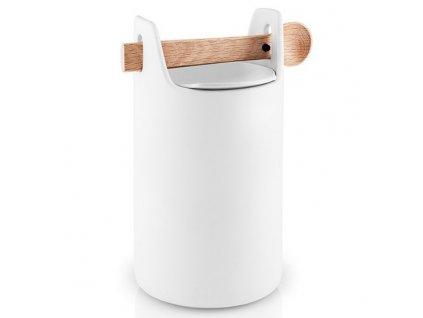 Élelmiszer tároló doboz fa kanállal magas fehér