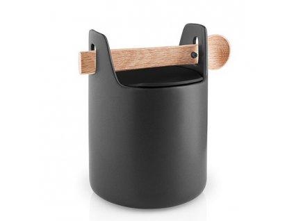 Élelmiszer tároló doboz fa kanállal fekete