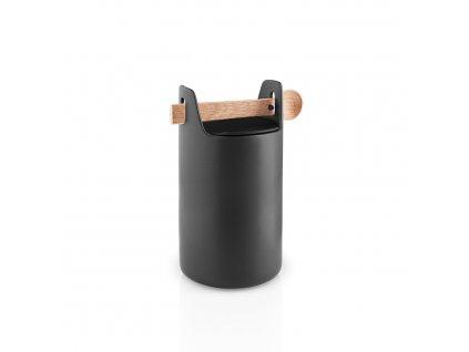 Élelmiszer tároló doboz fa kanállal magas fekete