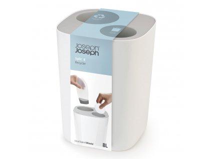 Split™ szelektív szemeteskosár fürdőszobába, fehér-szürke