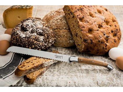 Kenyérvágó kés Laguiole Luxury 20 cm olive