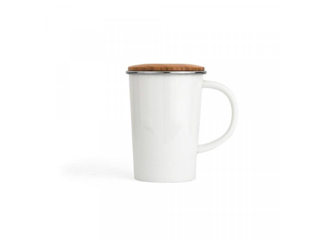 Kubek na herbatę z sitkiem i pokrywką Bambus Bredemeijer biały 400 ml