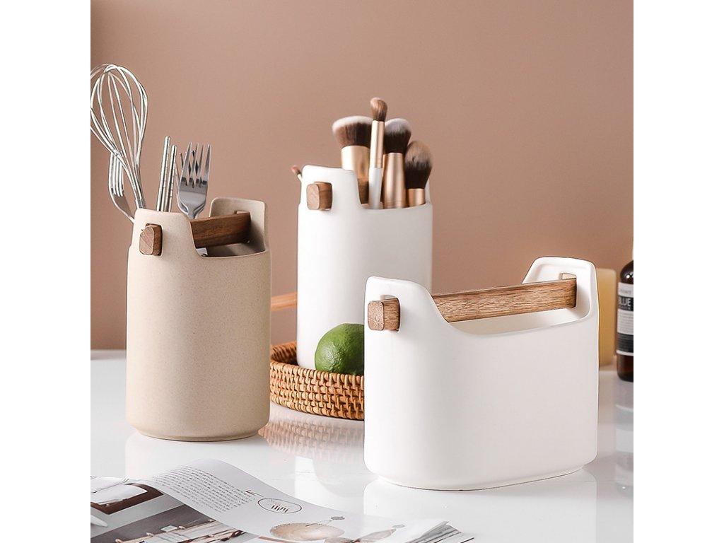 Pudełko wielofunkcyjne szeroki z drewnianym uchwytem biały Eva Solo