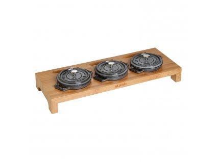 Stojak bambusowy do serwowania na 3 żeliwne mini garnki Staub