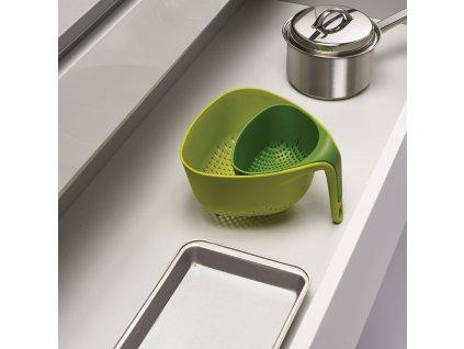 Zestaw kompaktowych durszlaków 2 szt. zielony