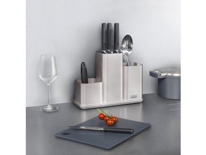 Pojemnik na przybory kuchenne i noże z deseczką srebrny CounterStore™