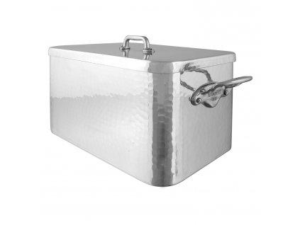 Brytfanna prostokątna aluminiowa, kuta, z pokrywką 36 x 21 cm