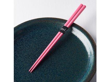 Lakierowane pałeczki Chopsticks różowe MIJ