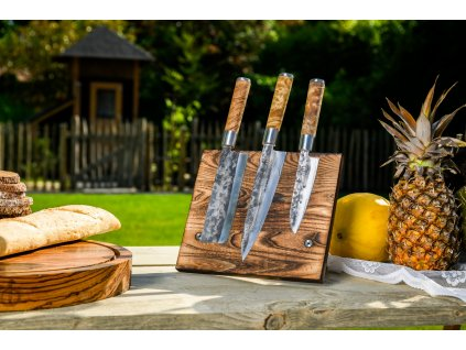 Nóż kuchenny kuty VG10 20,5 cm ze skórzanym etui