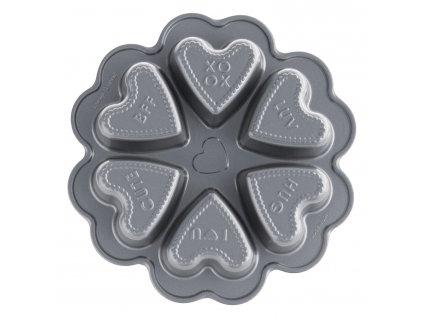 Forma do 6 serduszek z napisem Conversation Hearts Bundt® srebrna