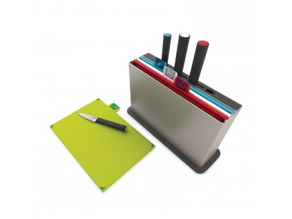 Stojak z deskami do krojenia i nożami 30 x 20 cm srebrny Index™