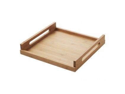 Drewniany kwadratowy taca Dotknij przycisku REVOL