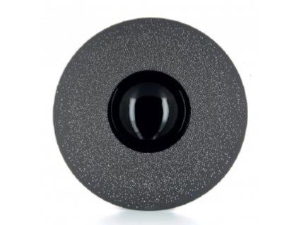 Talerz Sphère czarny z białym zdobieniem Solid