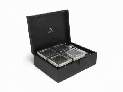 Pudełko na herbatę sypaną + 4 pojemniki + miarka Bredemeijer czarne