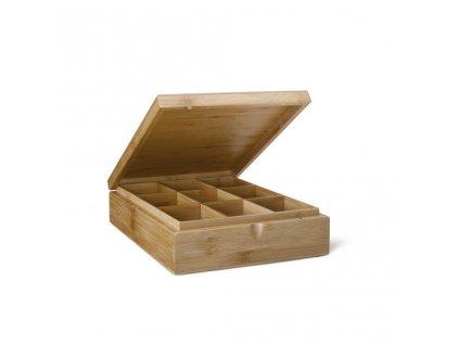Bambusowe pudełko na herbatę Bredemeijer 9 przedziały bez okna