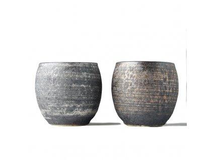 Set kubki dla dobra Sho-chu srebro i brązowy 2 szt. MIJ