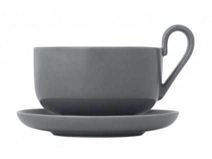 Zestaw filiżanek do herbaty z podstawkami Ro Blomus szare 230 ml 2 szt.