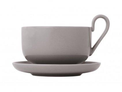 Zestaw filiżanek do herbaty z podstawkami Ro Blomus ciepły szary 230 ml 2 szt.