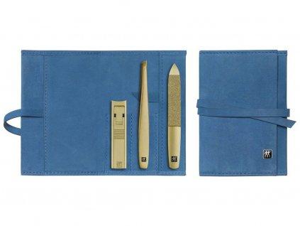 Manicure BT Twinox Złota Edycja Zwilling skóra niebieska 3 szt.