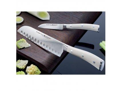 Nóż Santoku z wycięciem 14 cm Classic Ikon crème WÜSTHOF