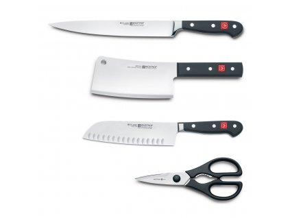Zestaw noży z brązowym stojakiem, stalką i nożyczkami 13-częściowy Classic